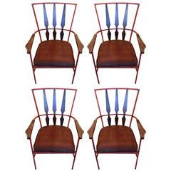 Salterini Style S/4 Mid Century Modern Enameled Steel & Walnut Armchairs