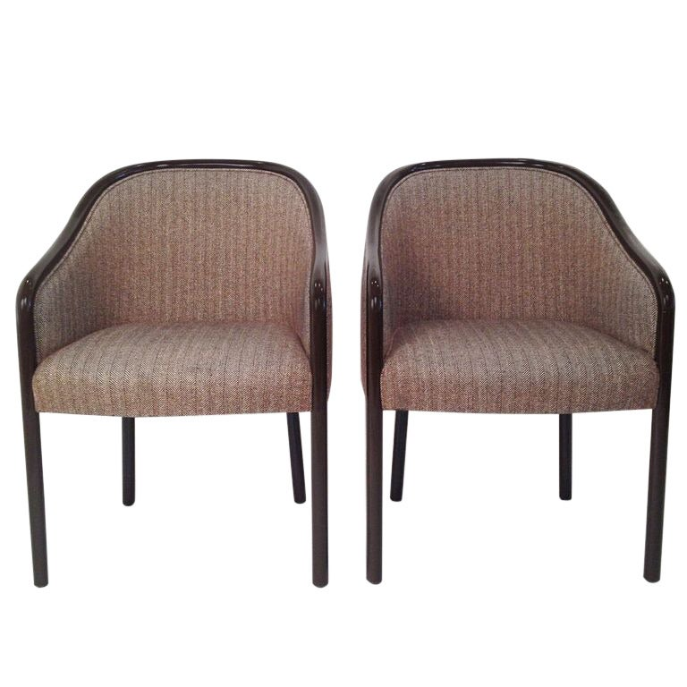 Mid Century Modern Pr Of Ward Bennett Armchairs Newly Lacquered In Dark Brown For