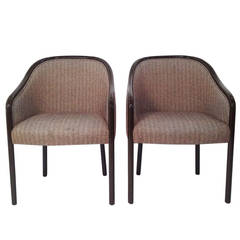 Mid Century Modern Pr of Ward Bennett Armchairs Newly Lacquered in Dark Brown