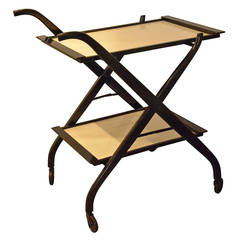Foldable Newly Laquered Wood Frame & Removable Melamine Tray Bar Cart