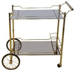 Brass with Smoke Glass Bar Cart