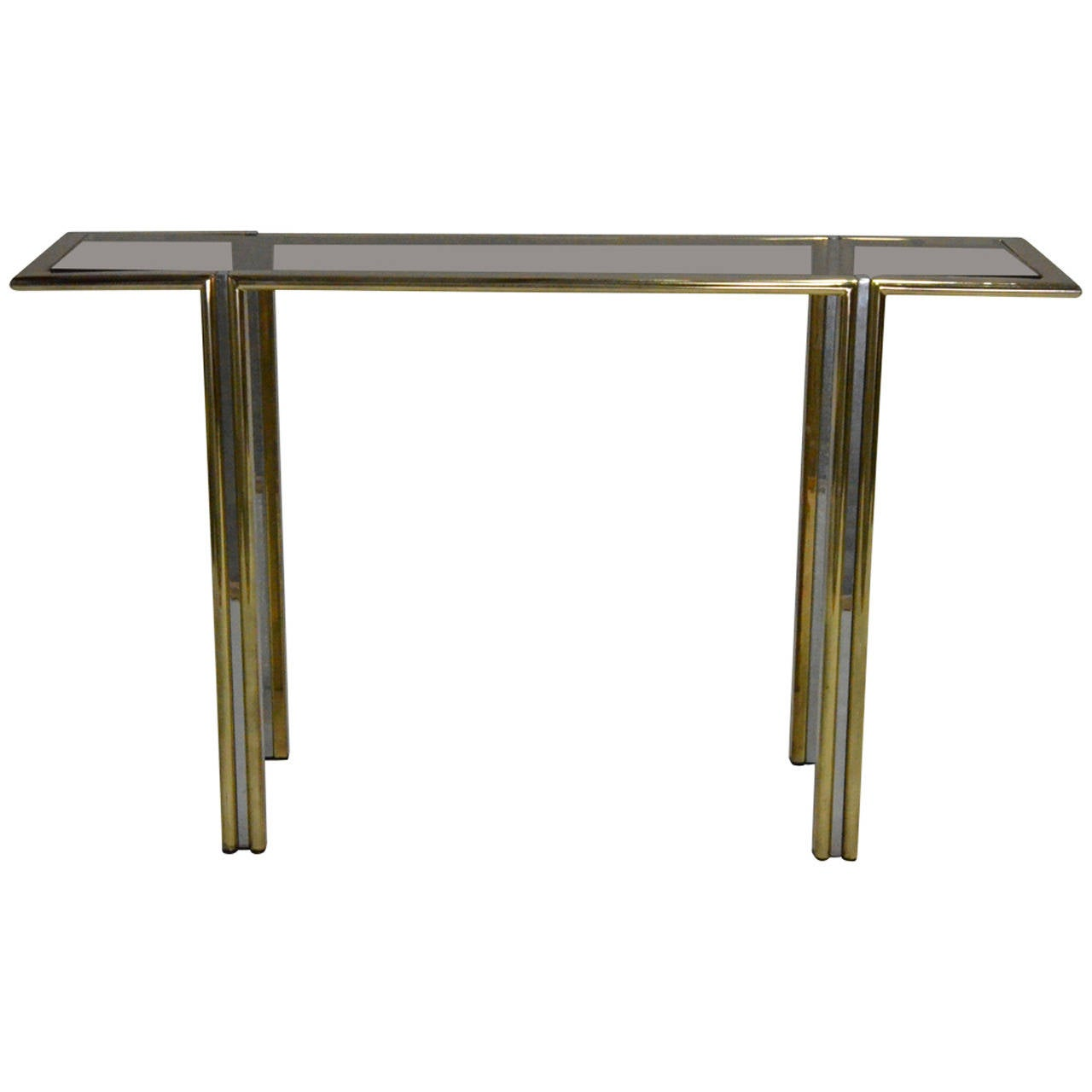 Romeo Rega Italian Mid Century Modern Brass, Chrome, Steel & Glass Console