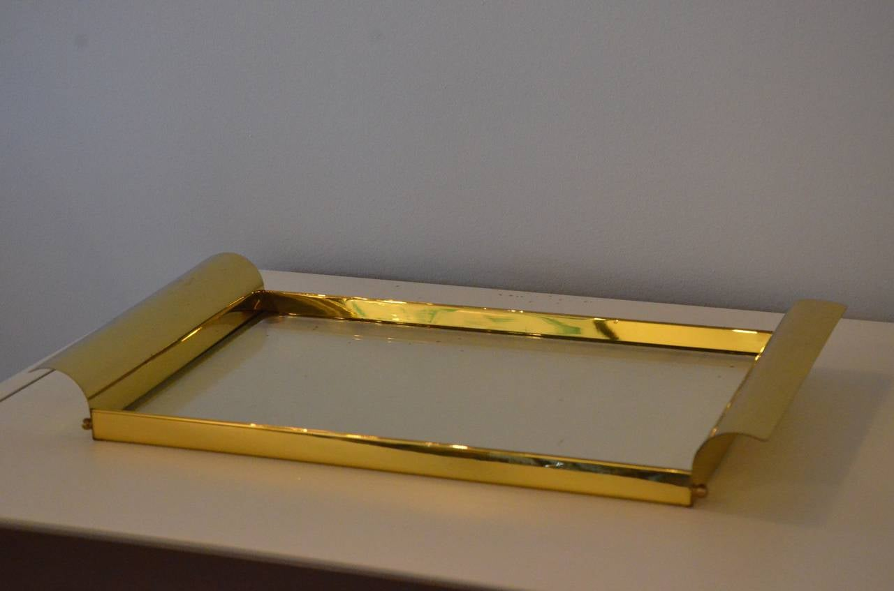 American Manner of Tommi Parzinger Brass and Glass Tray