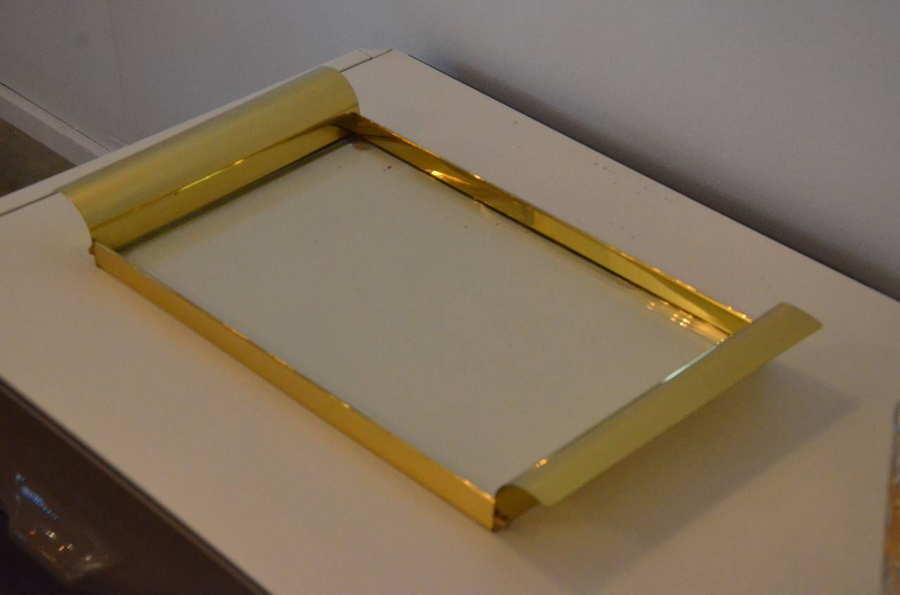 Mid-Century Modern Manner of Tommi Parzinger Brass and Glass Tray