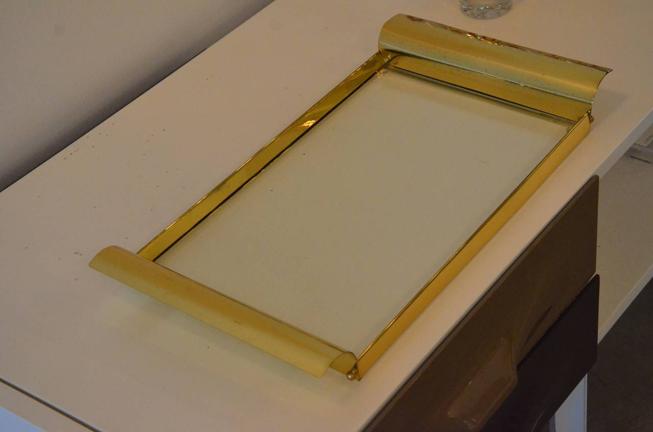 Manner of Tommi Parzinger Brass and Glass Tray In Good Condition In Houston, TX