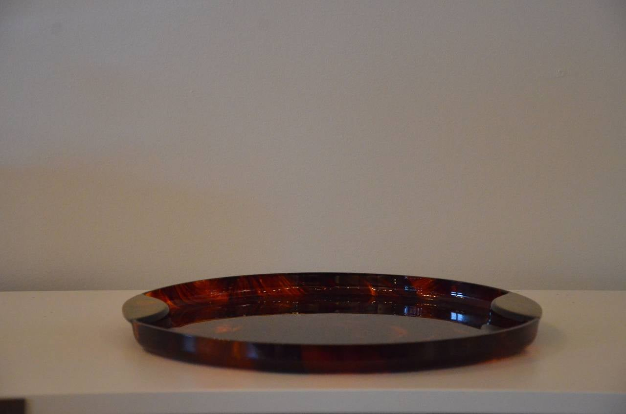Faux Tortoiseshell Tray With Brass Handles At 1stdibs