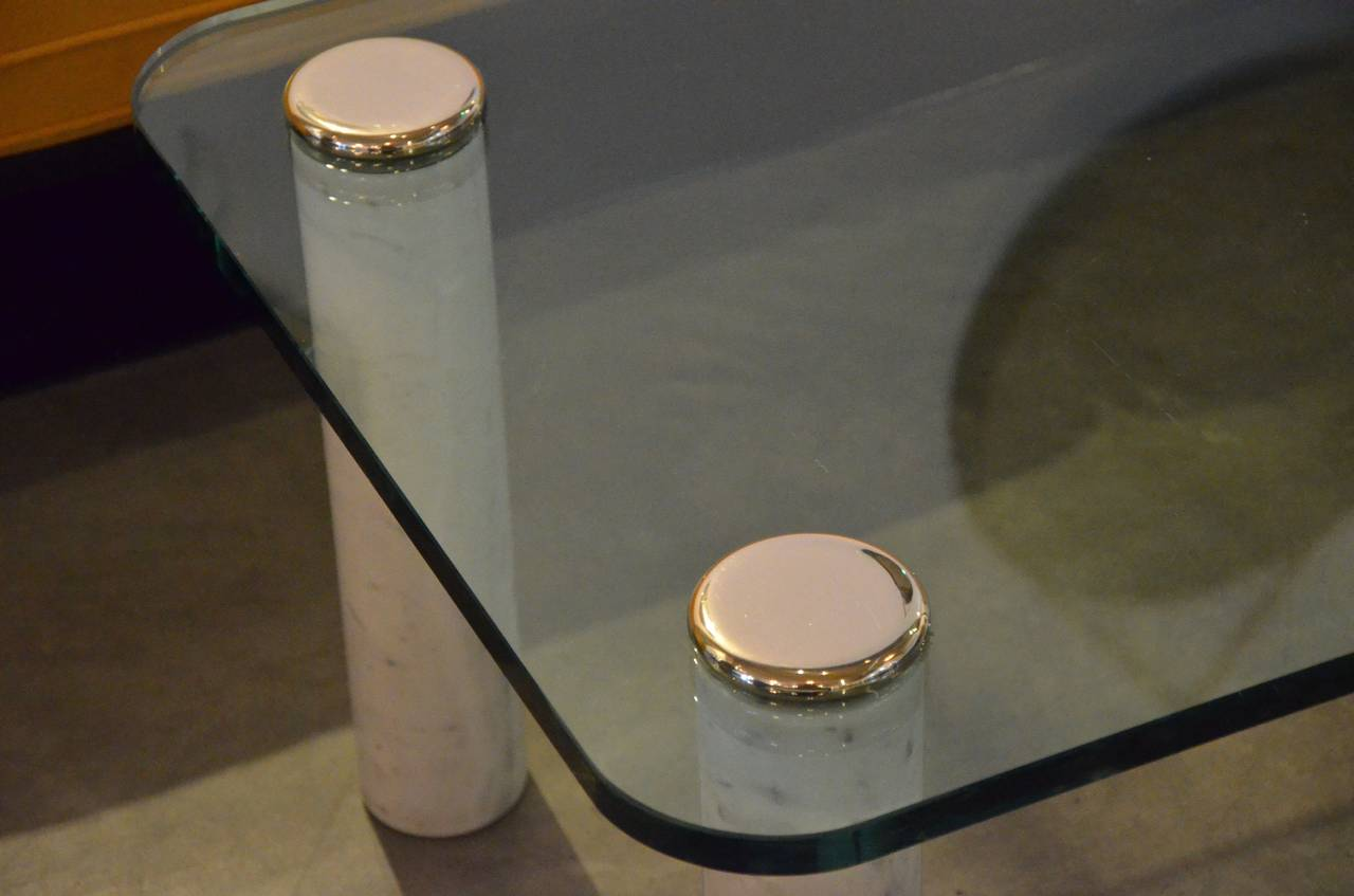 Pace Glass Chrome And Carrara Marble Coffee Table At 1stdibs