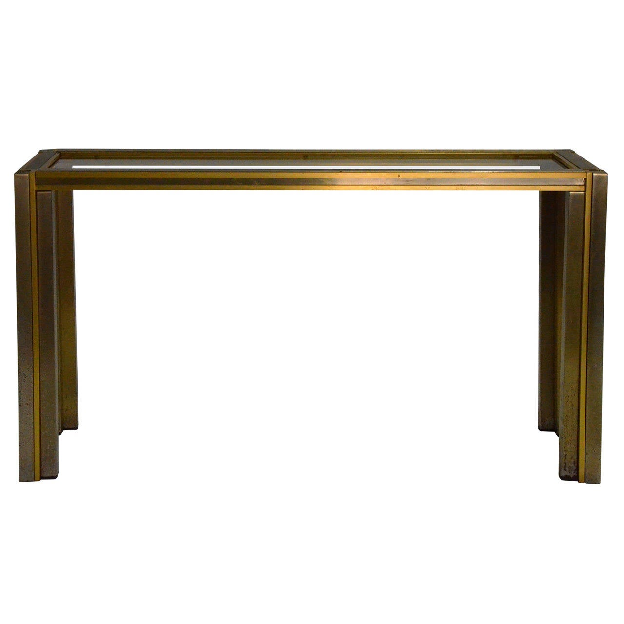 manner of willy rizzo midcentury modern italian brass steel and  - manner of willy rizzo midcentury modern italian brass steel  glassconsole