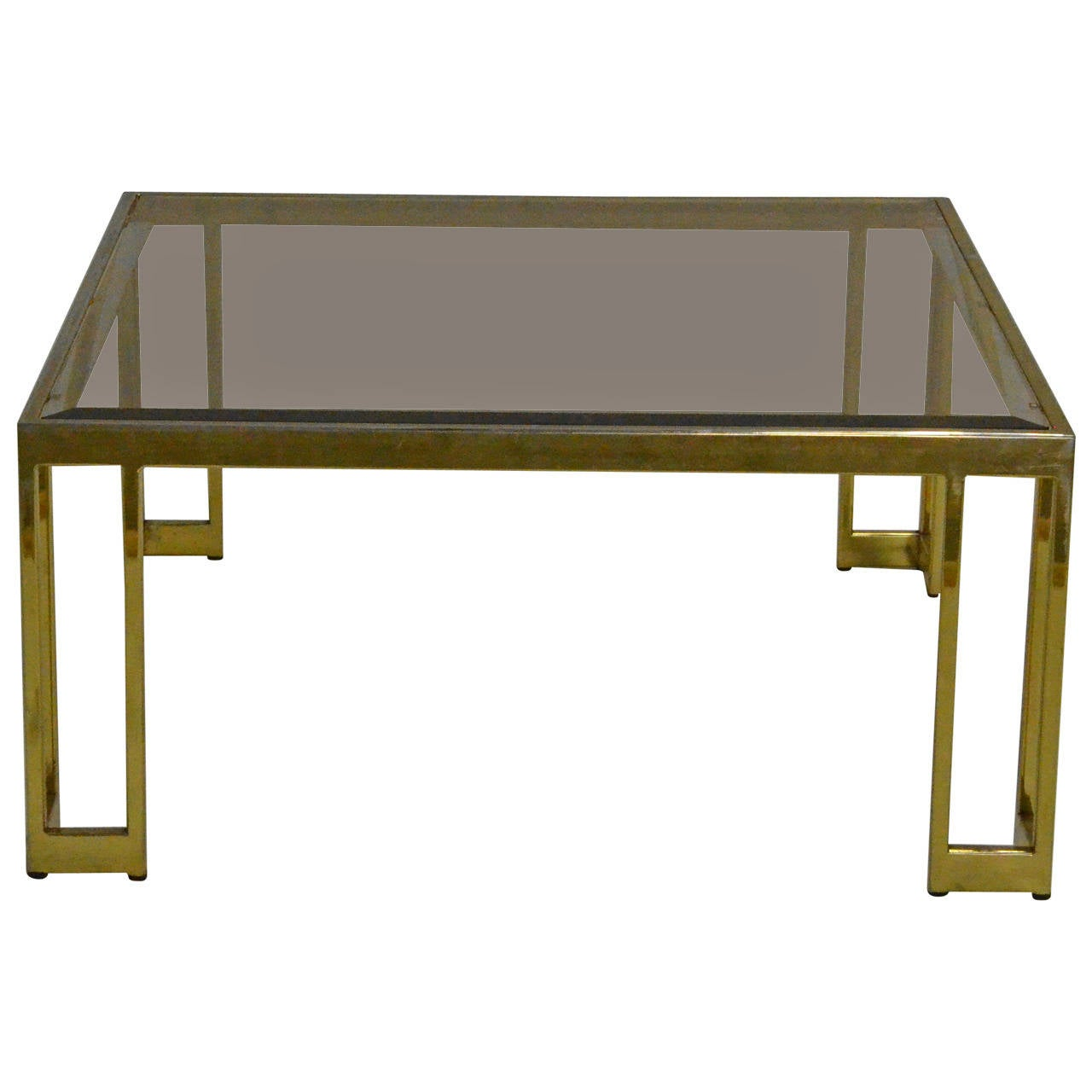 Milo Baughman Brass And Smoke Glass Coffee Or Cocktail Table At 1stdibs