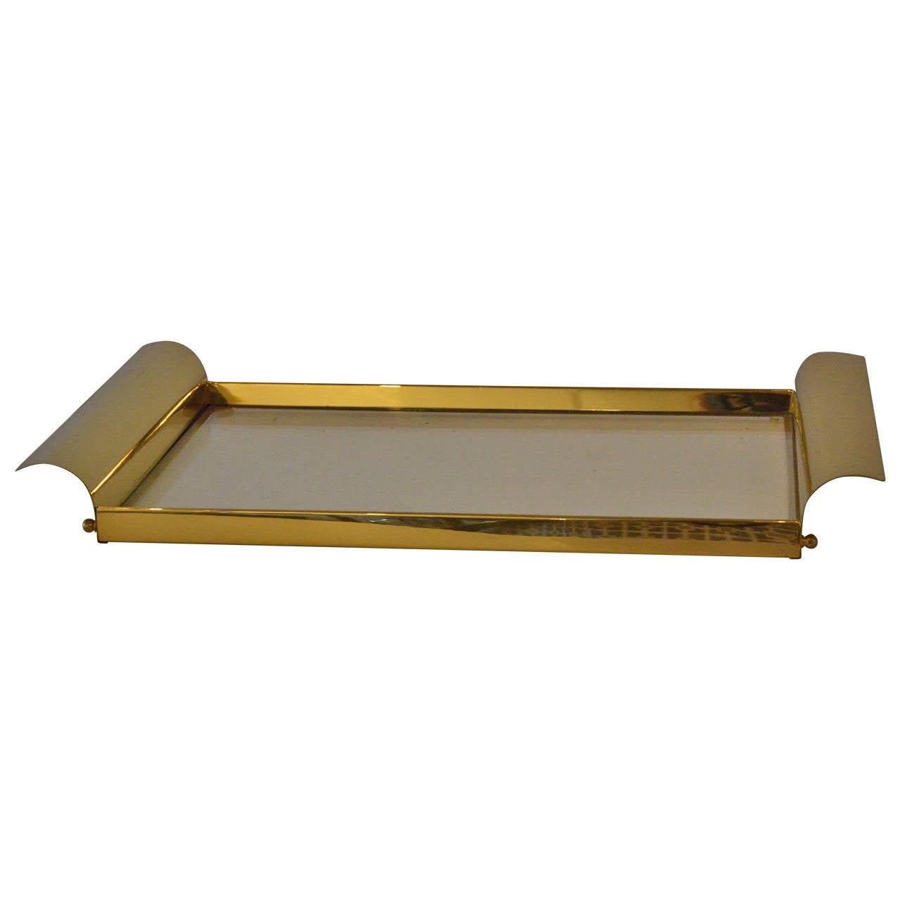 Manner of Tommi Parzinger Brass and Glass Tray