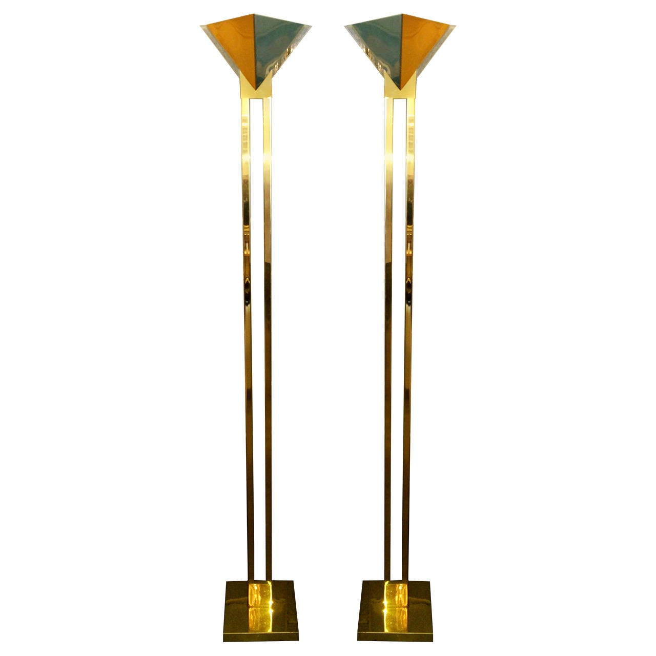 Mid Century Modern Brass & Lucite Torchiere Floor Lamps by Sonneman for Kovacs