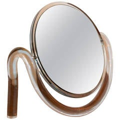 Mid-Century Modern Dorothy Thorpe Lucite Tabletop Make-Up Mirror