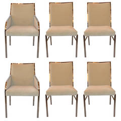 Set of Six Newly Upholstered Pierre Cardin Dining Chairs
