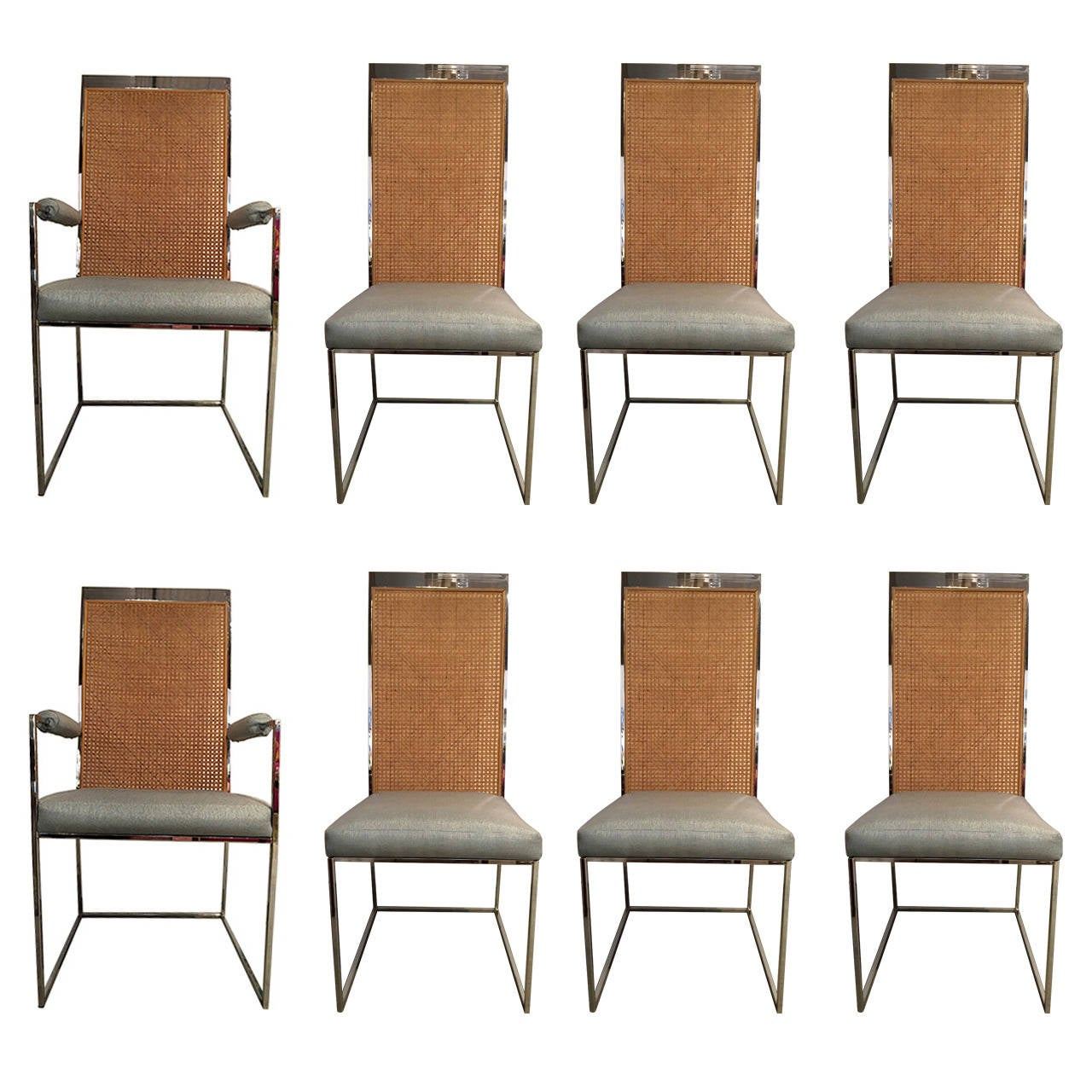 milo baughman chrome and cane back dining chairs for sale at 1stdibs