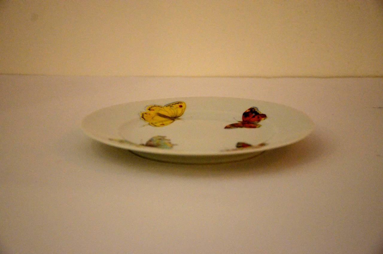Glazed Set of 7 Red Yellow Green Bernardaud Porcelain