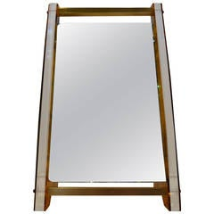 Art Deco Lucite Faux Tortoiseshell Pattern and Brass Vanity Mirror