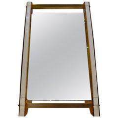 Art Deco / MCM Lucite Faux Tortoiseshell Pattern & Brass Vanity / Floor Mirror