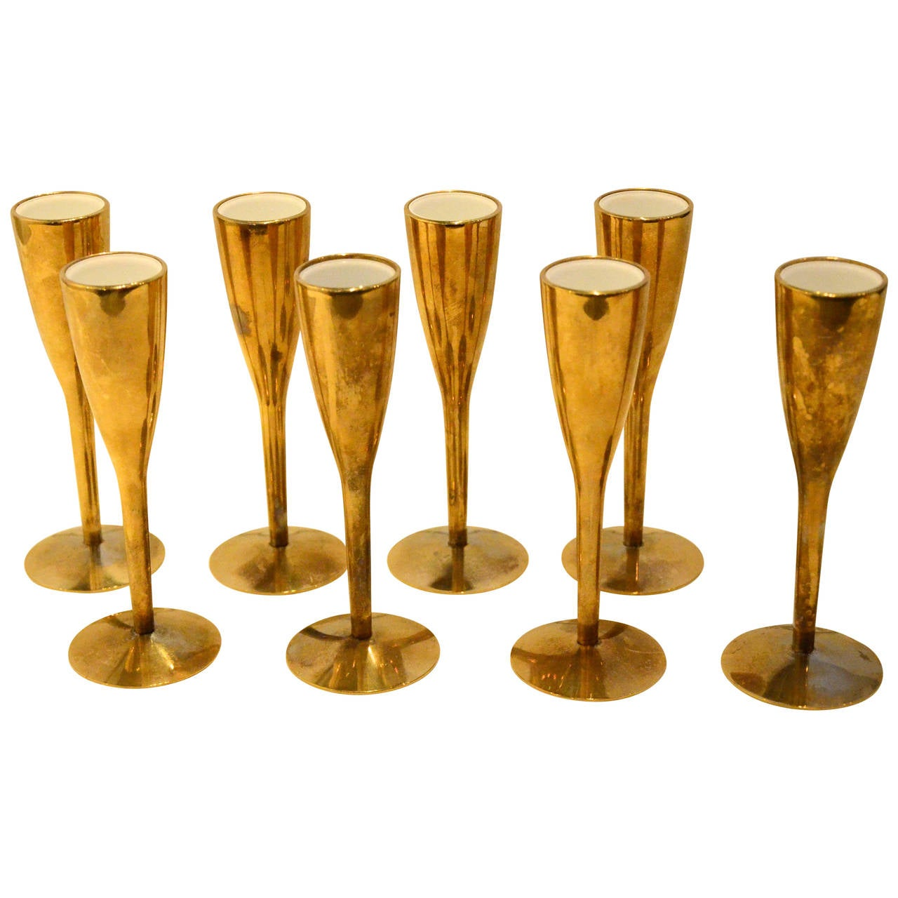 set of eight french brass and white enamel aperitif glasses at 1stdibs. Black Bedroom Furniture Sets. Home Design Ideas