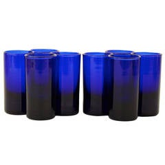 French Cobalt Blue Set of Eight Shot Glasses
