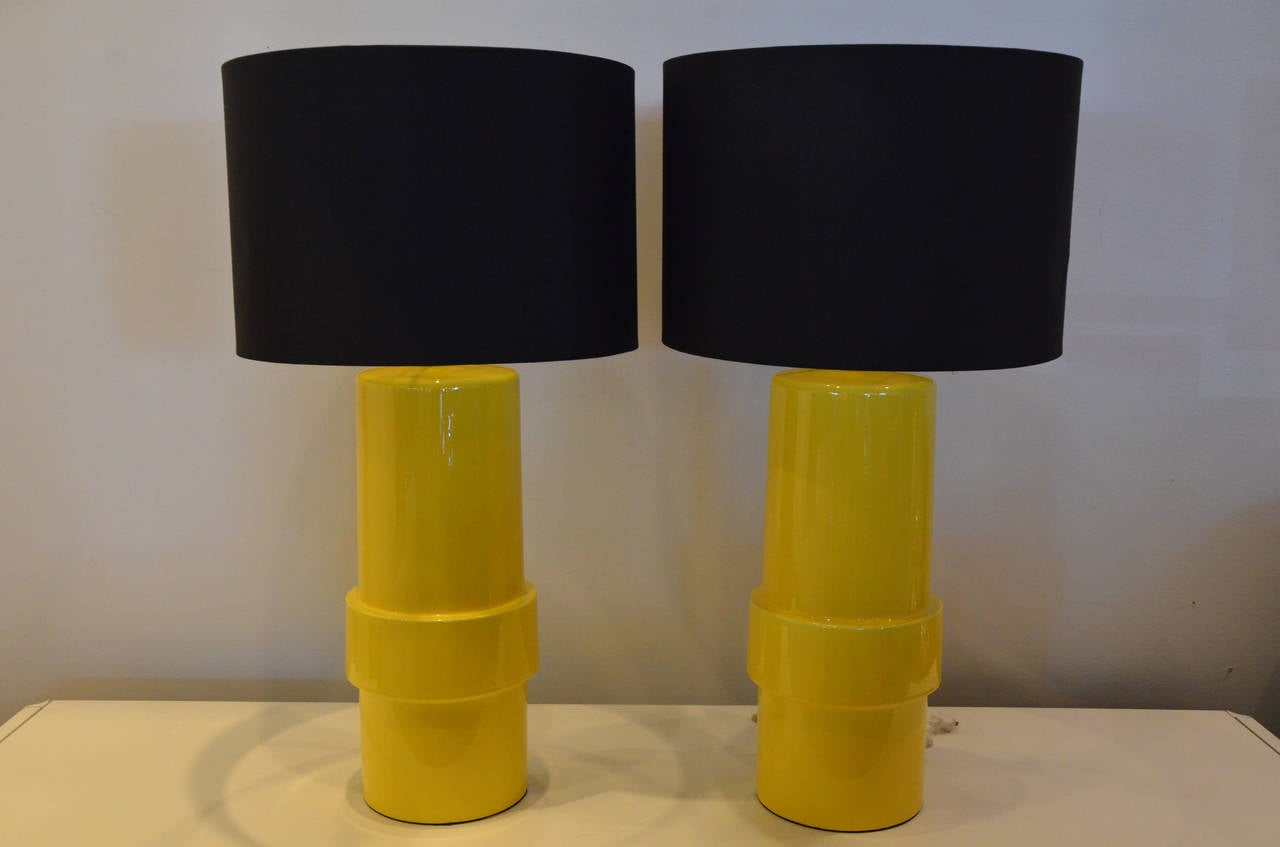 Pair Of High Gloss Canary Yellow Modern Ceramic Cylinder