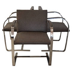 "Six ""Brno"" Mies van der Rohe Armchairs with Polished Flat Stainless Steel Frame"
