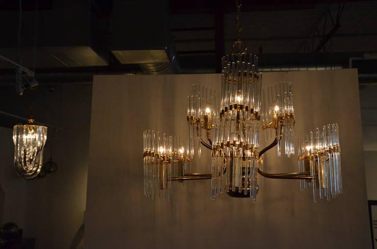 American Mid-Century Modern Italian Sciolari Crystal & Brass Chandelier For Sale