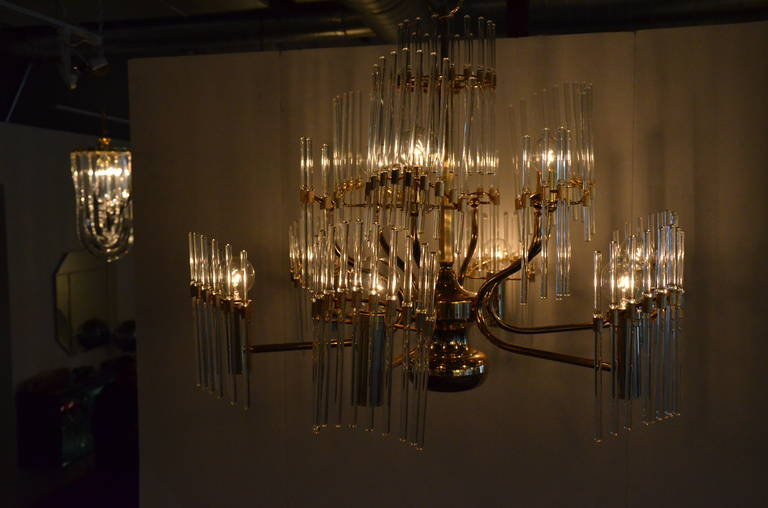 Late 20th Century Mid-Century Modern Italian Sciolari Crystal & Brass Chandelier For Sale