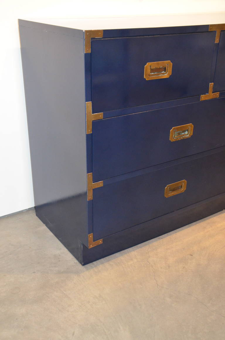 Navy Newly Lacquered Campaign Dresser With Brass Pulls At