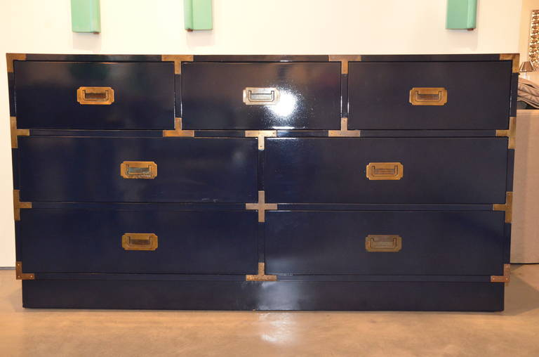 We Love Vintage 1970s Campaign Furniture! This Fabulous Dresser Is Newly  Lacquered In A Steely