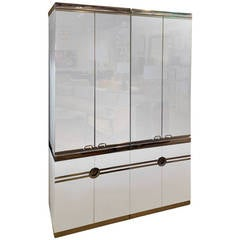 Pierre Cardin Four-Piece Chrome, Mirror and Laminate Cabinet