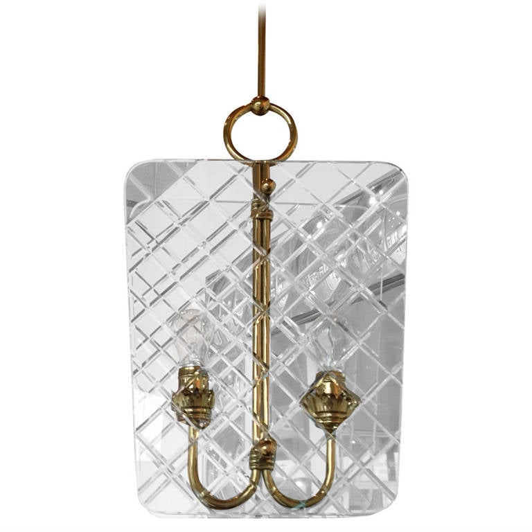 mid century vintage brass and glass chandelier attrib to. Black Bedroom Furniture Sets. Home Design Ideas