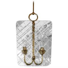 Mid-Century Italian Brass & Glass Chandelier Attrib. to P. Chiesa / Fontana Arte