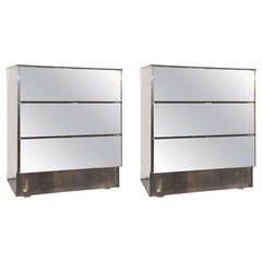 Pair of Mirrored Ello Bedside Tables