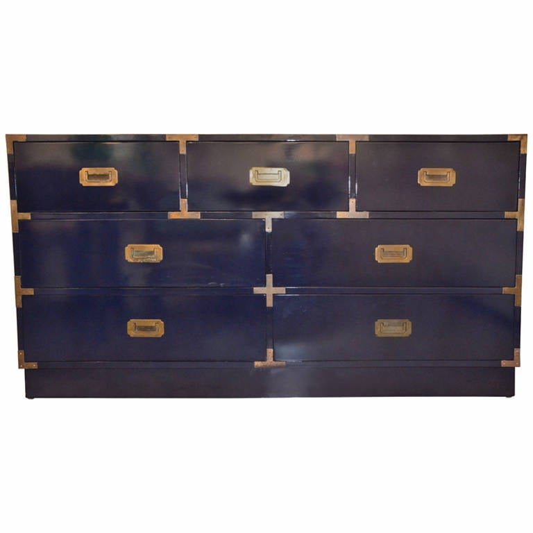Navy Newly Lacquered Campaign Dresser With Br Pulls 1