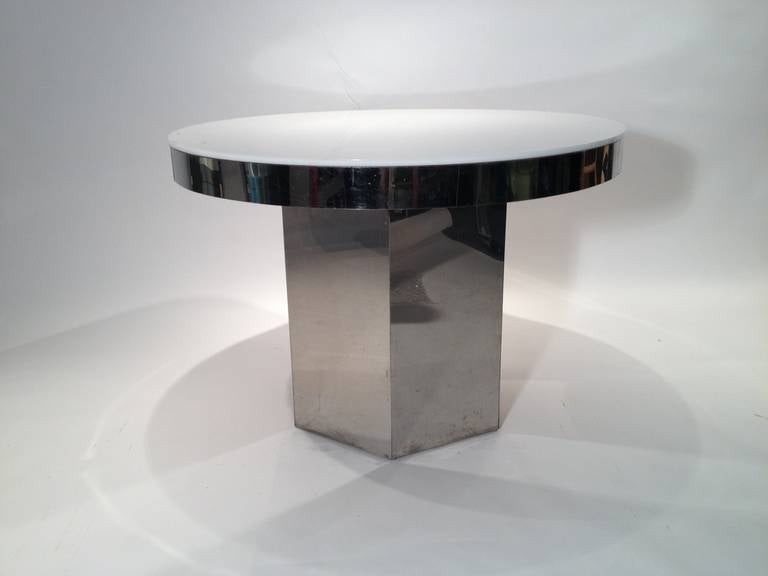 Mid Century Modern Chrome And Lucite Dining Table With