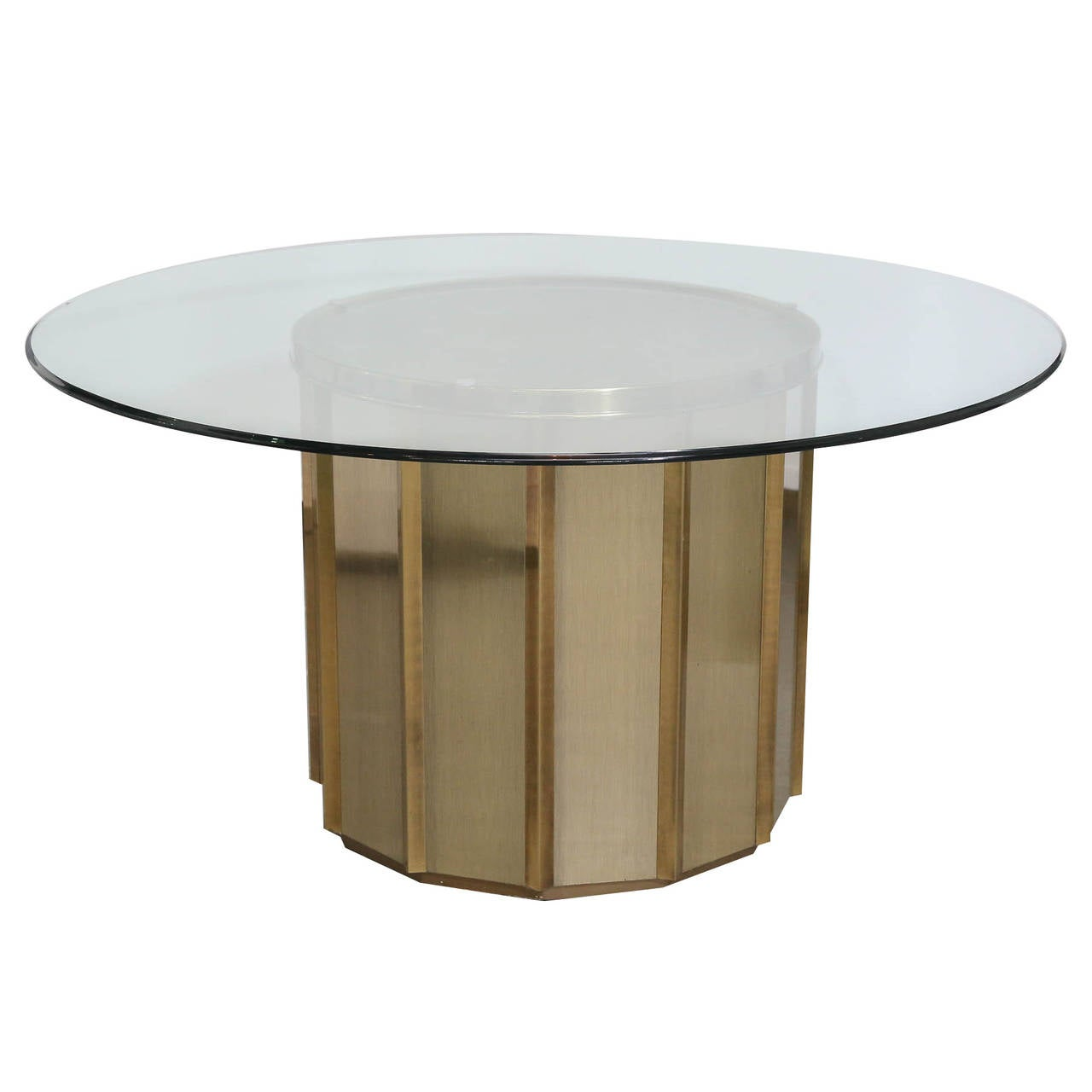 Round Brass Barrel Mastercraft Table Base At 1stdibs