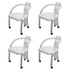 Mid Century Modern S/4 Charles Hollis Jones Style Lucite Arm Chairs on Casters