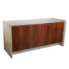 Mid Century Modern Polished Travertine Marble and Rosewood Sideboard