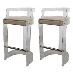 Pair of Charles Hollis Jones Lucite Bar Stools