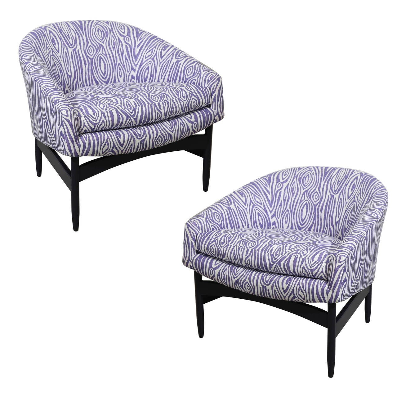 Mid Century Modern Pr Of Lawrence Peabody Upholstered Barrel Back Lounge Chairs For