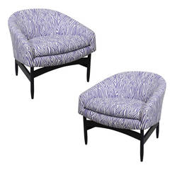 Faux Bois Patterned Upholstery Milo Baughman Lounge Chairs