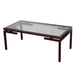 Pierre Vandel Lacquered Red with Gold Trim Coffee Table