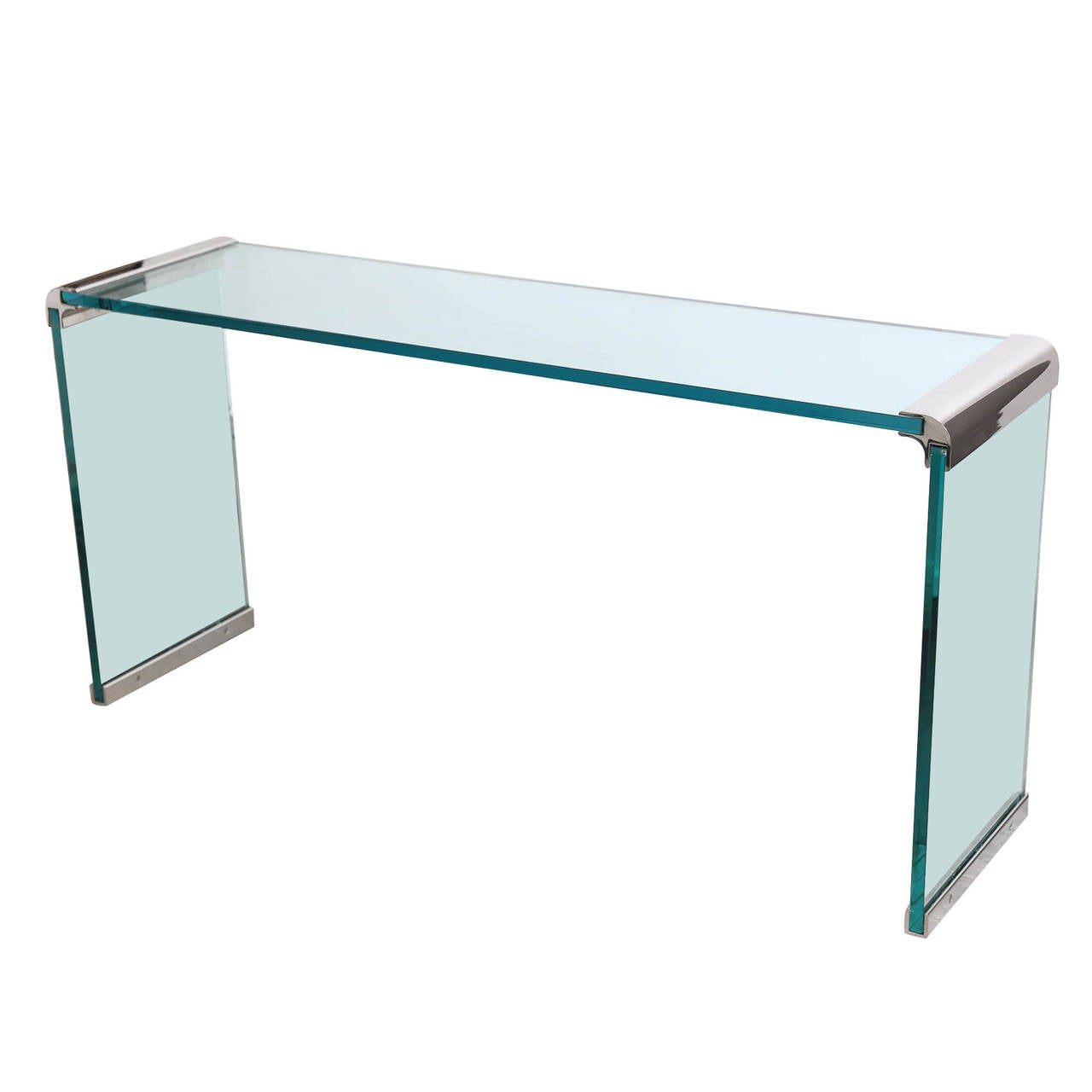 pace waterfall chrome bar and glass console table at 1stdibs