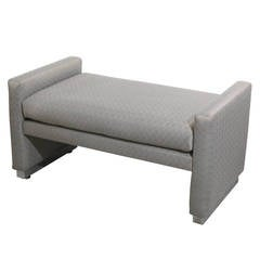 Newly Upholstered Mid-Century Modern Bench with Chrome Base by Milo Baughman