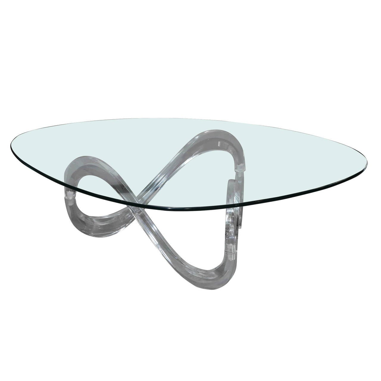 modernist sculptural lucite base and glass-top coffee table for