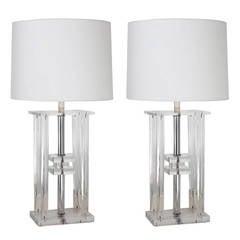 Pair of Lucite Greek Revival Column Lamps