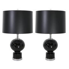 Mid Century Modern Pair of Black Ceramic and Chrome Table Lamps