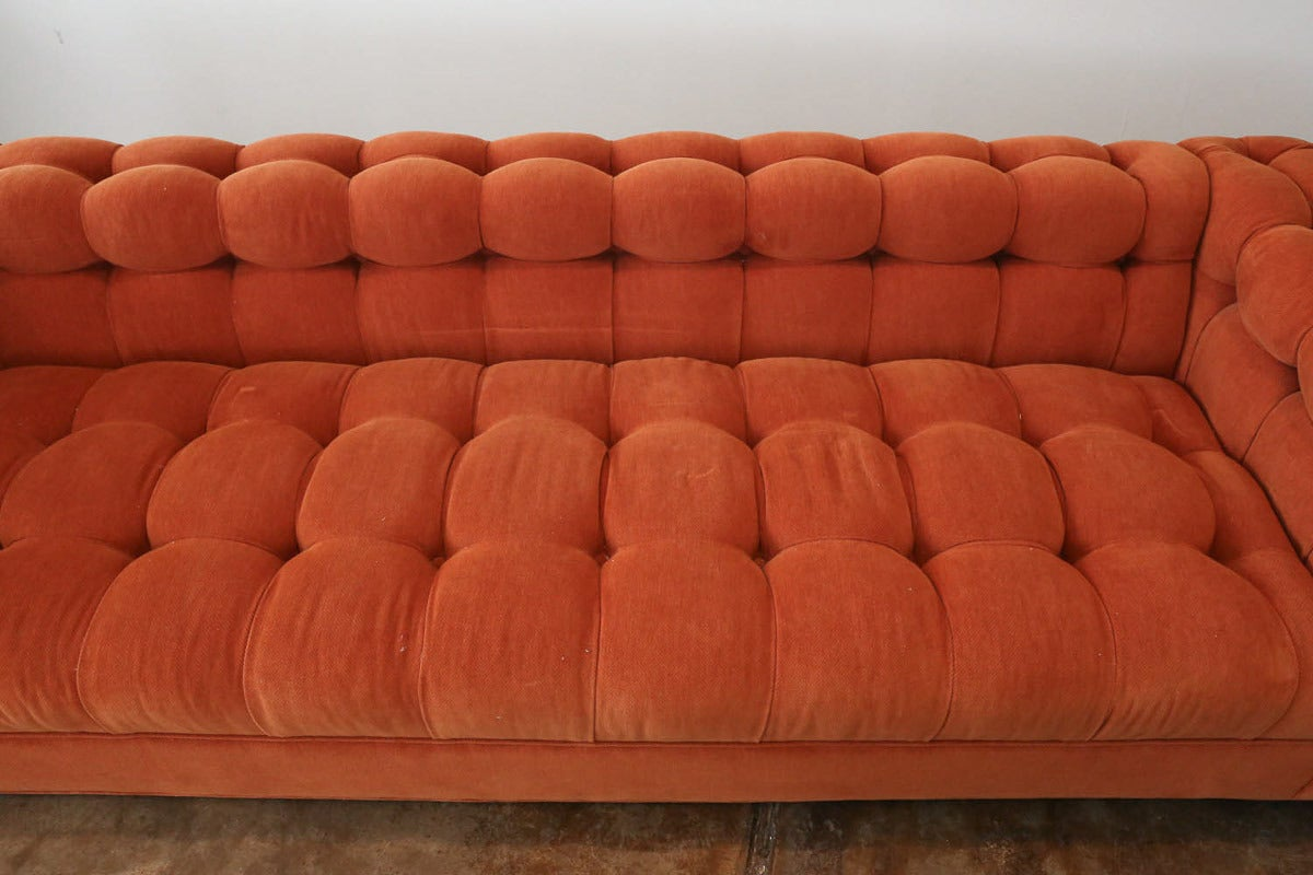Historic Provenance Edward Wormley for Dunbar Button Velvet Tufted Sofa 6