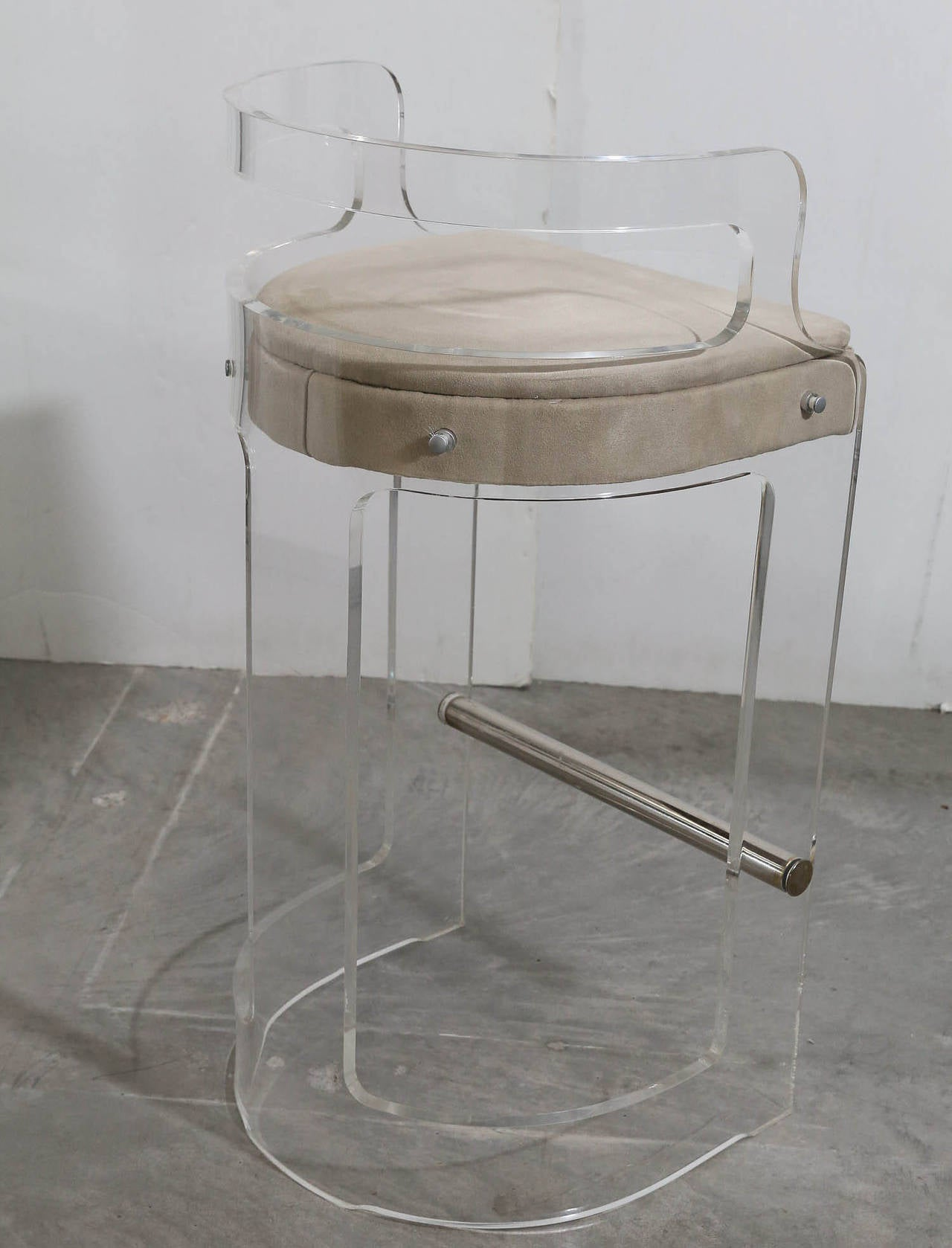 Pair of Charles Hollis Jones Lucite Bar Stools For Sale at 1stdibs
