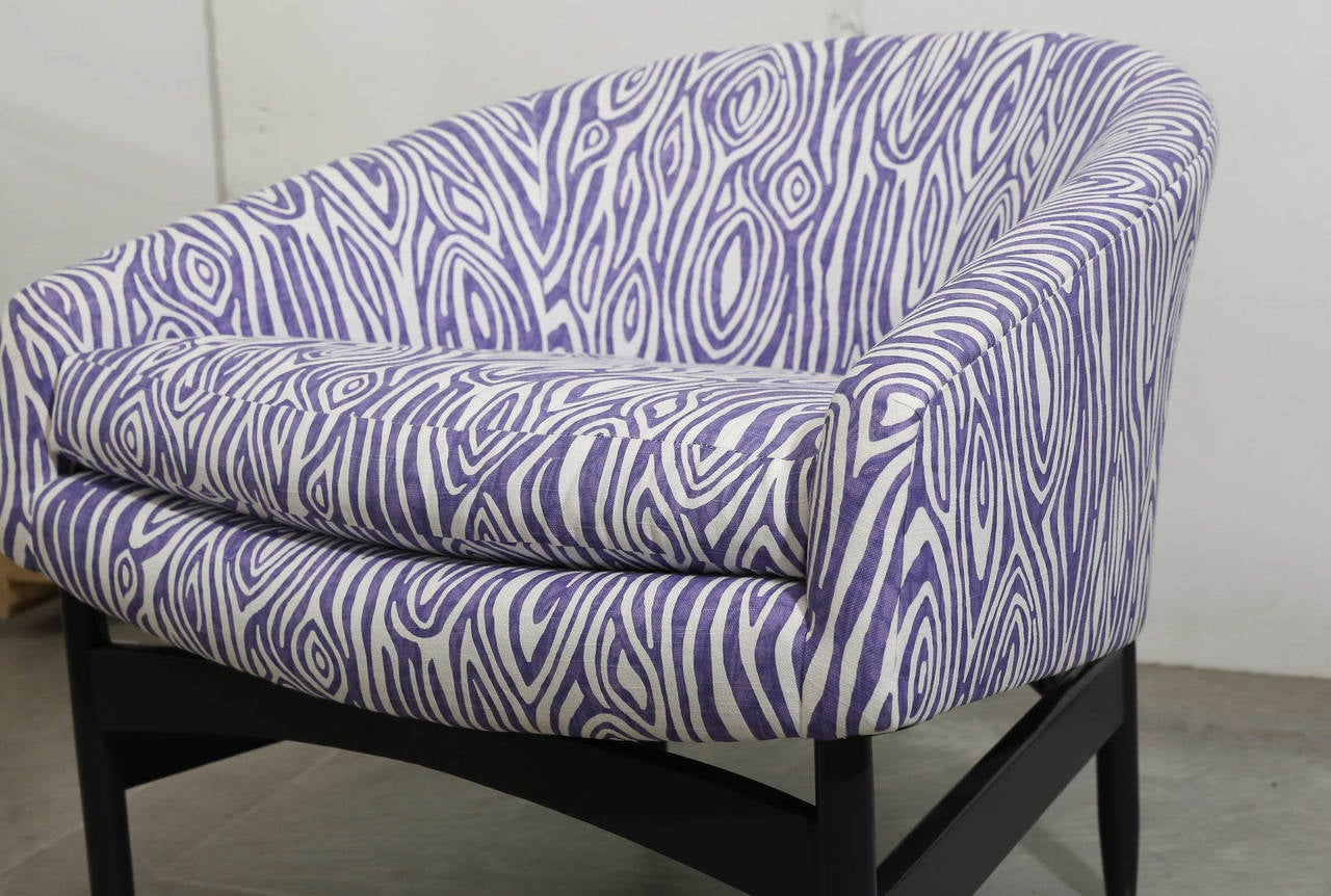 Upholstery Pair of Newly Upholstered Purple & White Animal Print Barrel Back Lounge Chairs For Sale